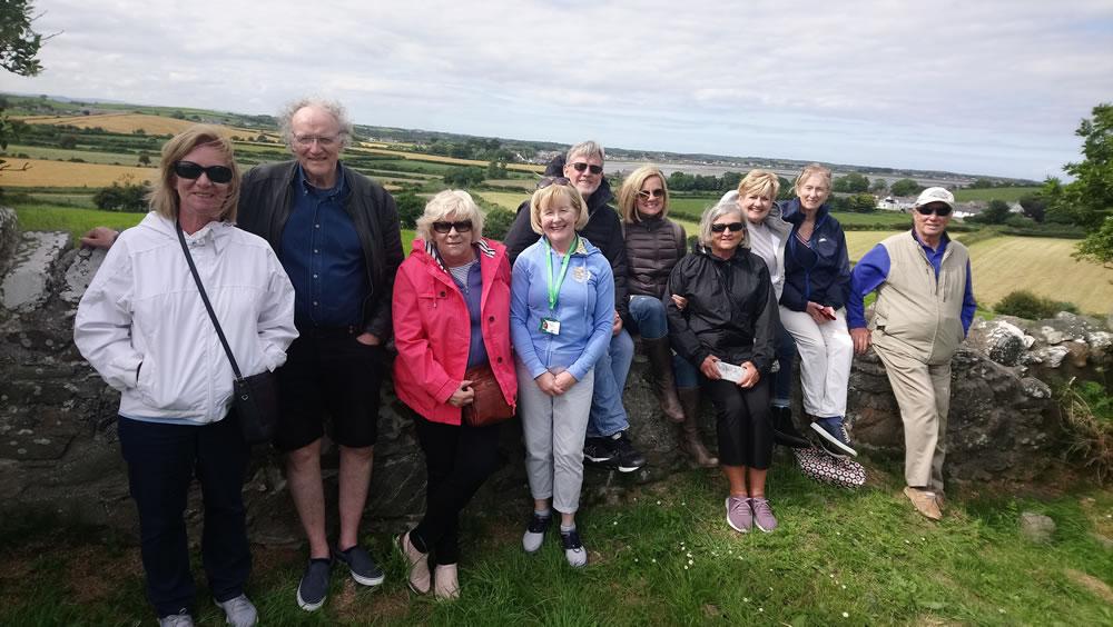 Brigid with a tour group